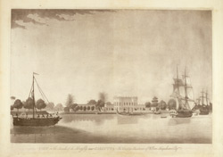 View on the banks of the Hooghly near Calcutta. The Country Residence of William Farquharson Esqr.